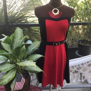 EXPRESS red & black strapless dress